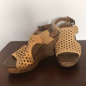 Tan wedged sandals